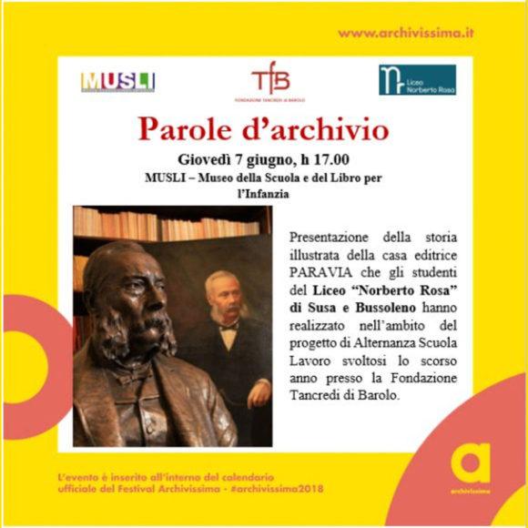 """Incontro """"Parole d'Archivio"""" al MUSLI per Archivissima 2018"""