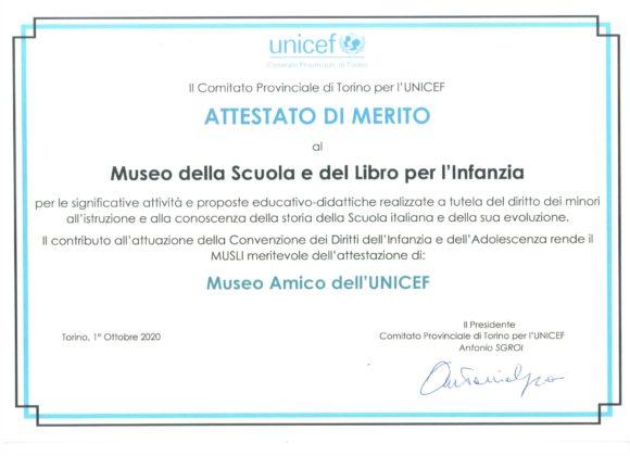 """L'attestato di merito """"Museo Amico dell'UNICEF"""" al MUSLI"""
